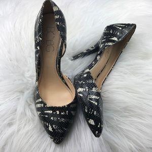 BCBG Paris Jaze patterned stiletto cutout heels